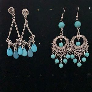 2Pair turquoise earrings NW0T